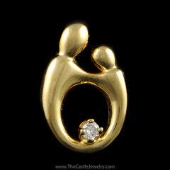 Mother Child Pendant with Diamond Accent in 14K Yellow Gold - The Castle Jewelry  - 1