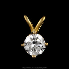 Beautiful 1/4ct Round Brilliant Cut Diamond Solitaire Pendant in 10K Yellow Gold - The Castle Jewelry  - 1