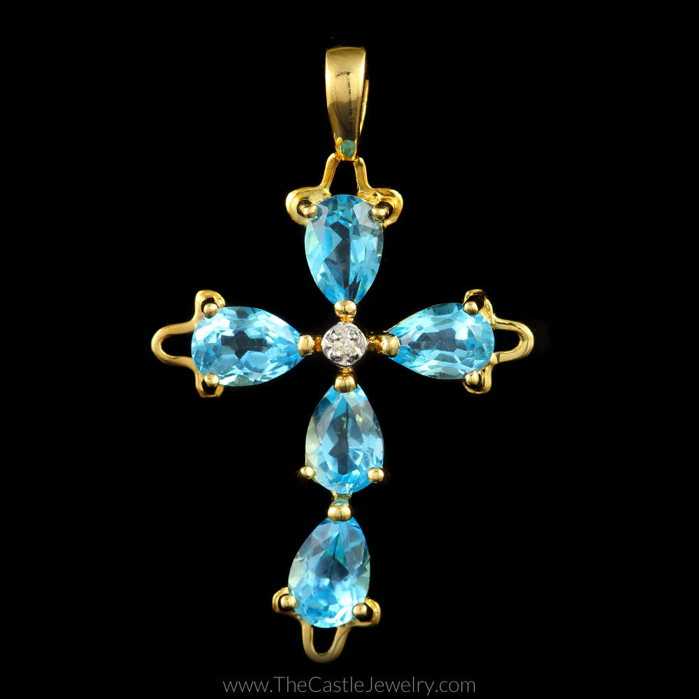 Pear Shaped Blue Topaz Cross Pendant in 14K Yellow Gold - The Castle Jewelry  - 1