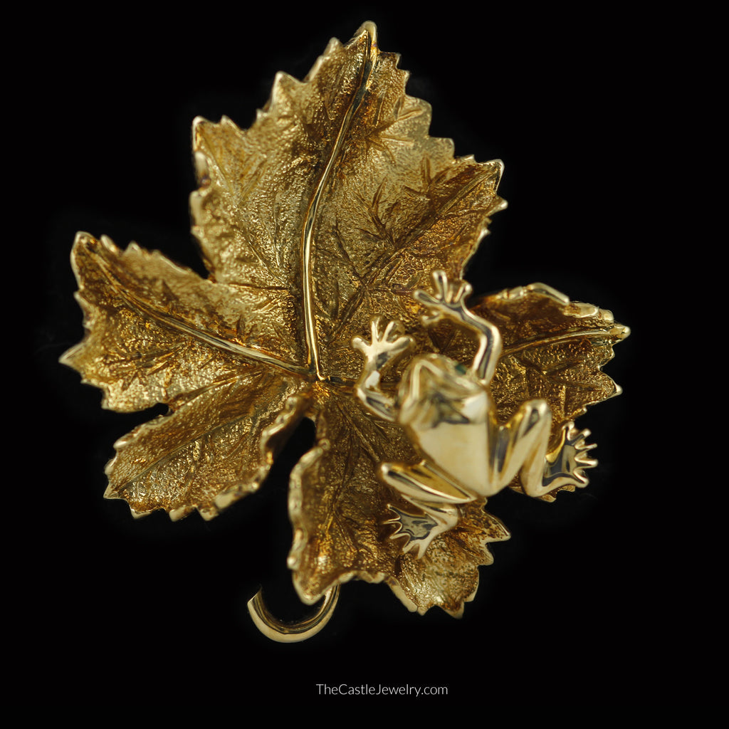 Unique Leaf Pin Pendant Combo with Perched Frog in 14K Yellow Gold - The Castle Jewelry  - 1