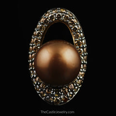 LeVian Chocolate Pearl Pendant Surrounded By Chocolate Diamonds in 14K Gold - The Castle Jewelry  - 1