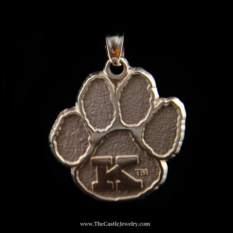 "Large Wildcat Paw Print ""K"" Pendant in Yellow Gold"