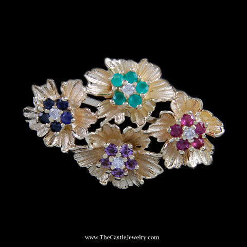 Beautiful Flower Multiple Gemstone Pin w/ Diamond Accents in Yellow Gold