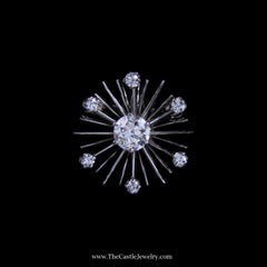 Stunning Diamond Starburst Design Pendant/ Pin in 14k White Gold - The Castle Jewelry  - 1