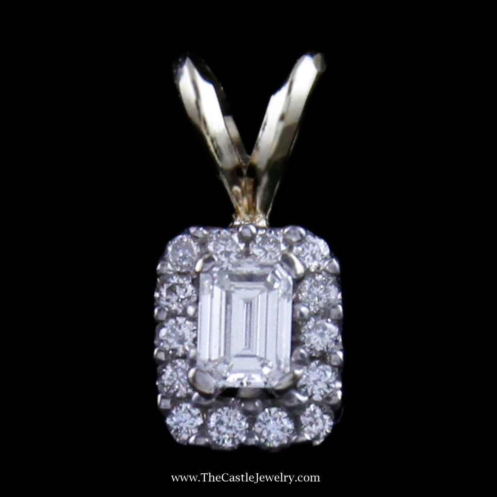 Gorgeous Emerald Cut Diamond Pendant w/ Round Brilliant cut Diamond Bezel in White Gold - The Castle Jewelry  - 1