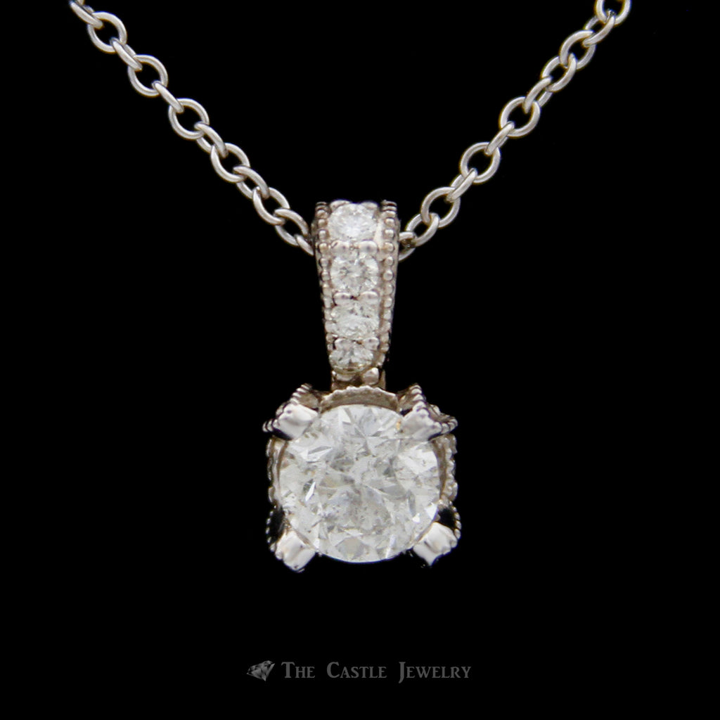 Round 1ct Diamond Pendant in 4 Prong Beaded Design Mount w/ Diamond Accents 14k White Gold