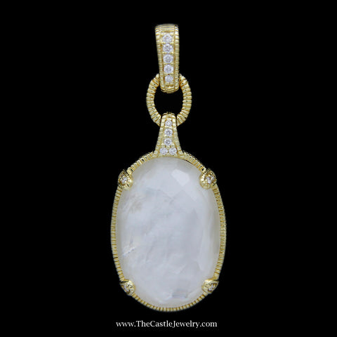 Judith Ripka Oval Mother of Pearl Pendant w/ Diamond Prongs & Bail Crafted in 18k Yellow Gold