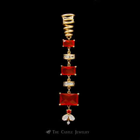 Dangling Emerald Cut Fire Opal Pendant w/ Round Diamond Accented Links in 18k Yellow Gold