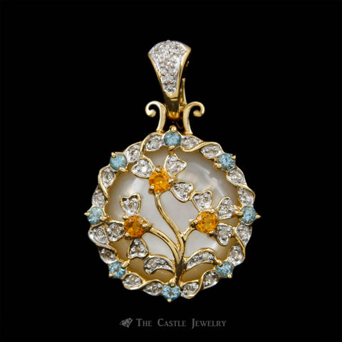 Mother of Pearl Pendant w/ Gemstone Flower Design Overlay & Diamond Accents in 14 Yellow Gold