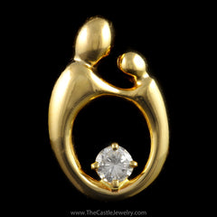 Mother Child Silhouette Pendant with 1/4ct Round Diamond in 14K Yellow Gold - The Castle Jewelry  - 1