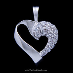Gorgeous Open Design Diamond Heart Pendant in 14k White Gold - The Castle Jewelry  - 1