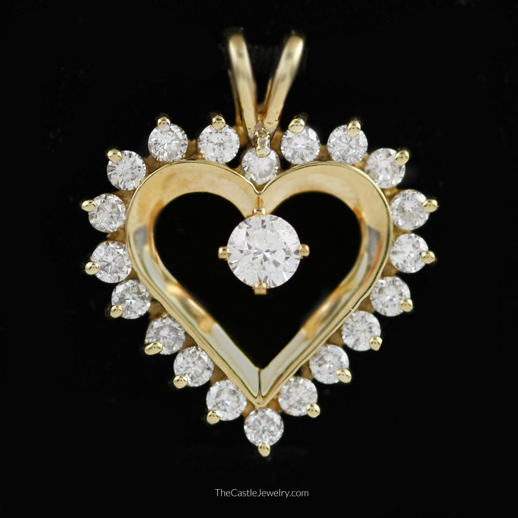Beautiful Diamond Heart Pendant 1.25cttw in 14K Yellow Gold - The Castle Jewelry  - 1
