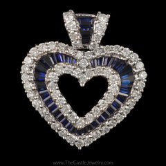 Beautifully Unique Diamond and Sapphire Heart Pendant 1cttw in 14K White Gold - The Castle Jewelry  - 1