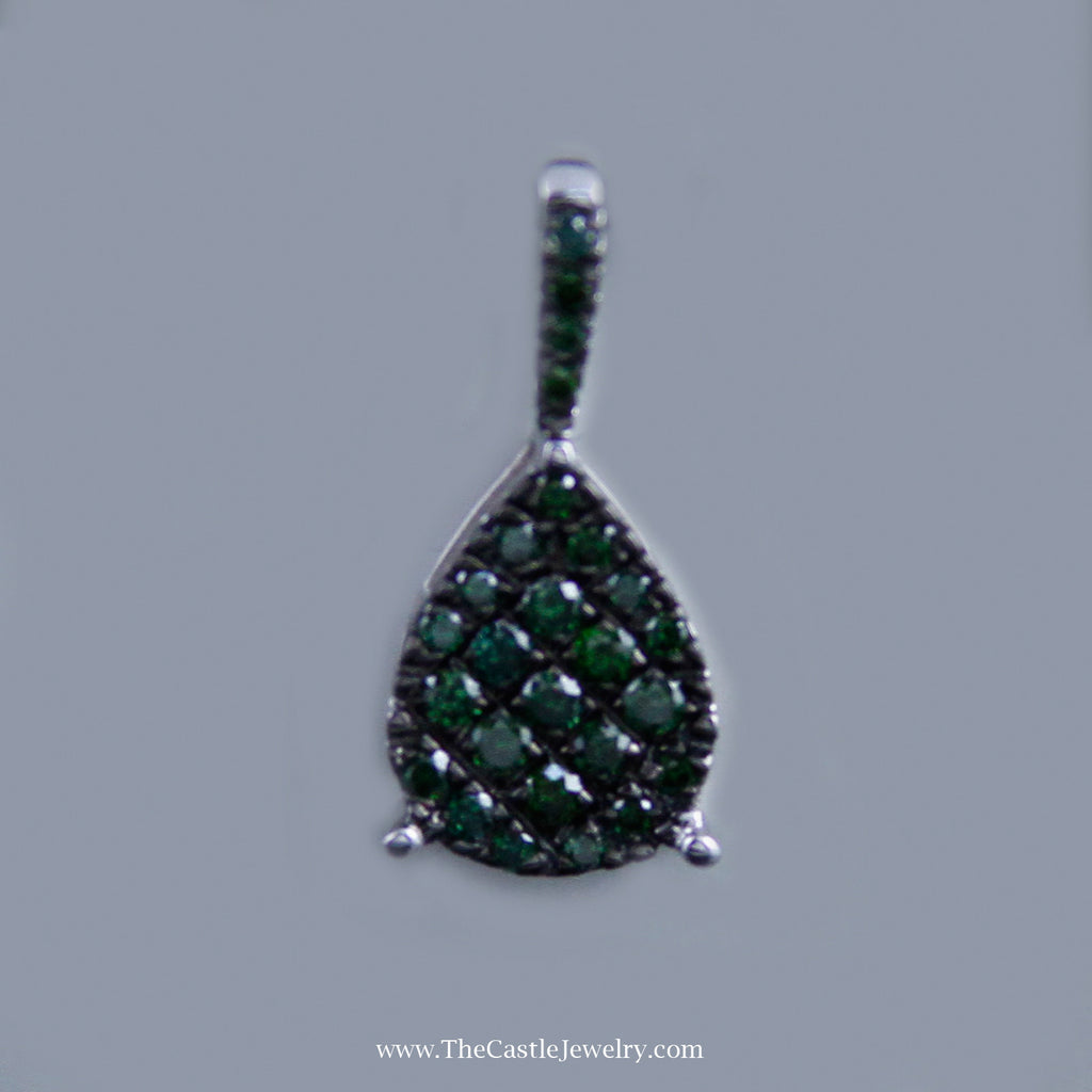 Lovely Pear Shaped Green Diamond Cluster Pendant in 10K White Gold - The Castle Jewelry  - 1
