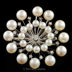 Pearl & Diamond Broach .36cttw in 14K White Gold - The Castle Jewelry  - 1