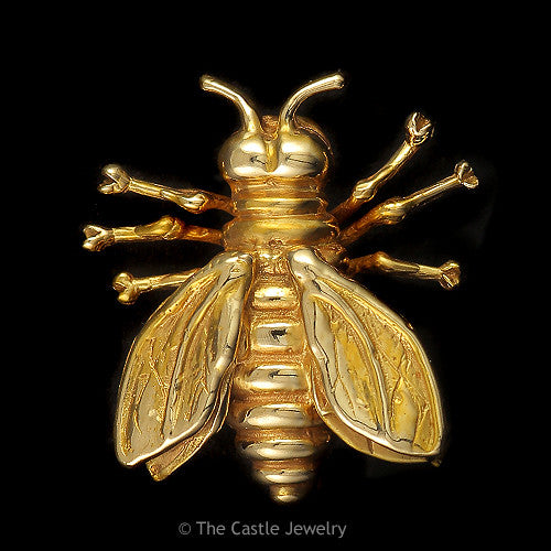 Unique Intricately Designed Bumblebee Pin in Solid 14K Yellow Gold - The Castle Jewelry  - 1