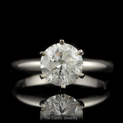 Round Brilliant Cut 2 Carat Diamond Solitaire in 6 Prong 14K White Gold Tiffany Mounting - The Castle Jewelry  - 1