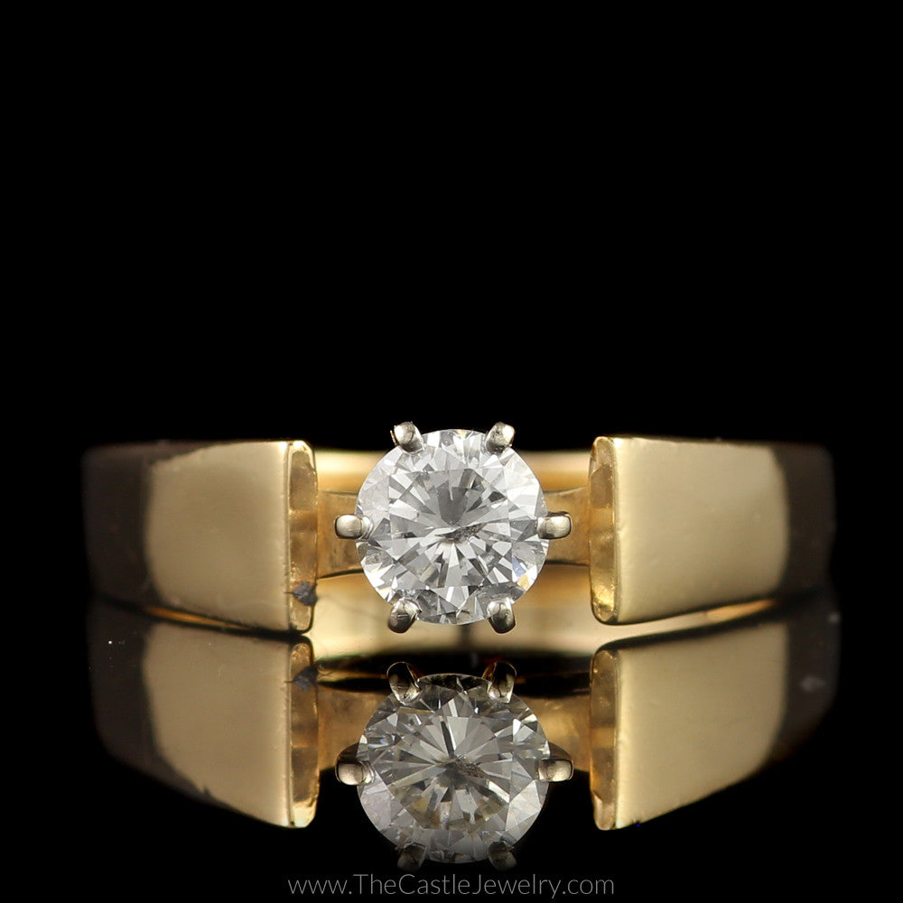 Round Brilliant Cut Diamond Solitaire Engagement Ring in Cathedral Mounting in 14K Yellow Gold - The Castle Jewelry  - 1