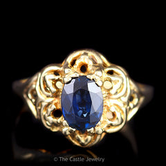 Vintage Oval Sapphire in Scalloped Flower Ring 14K Yellow Gold - The Castle Jewelry  - 1
