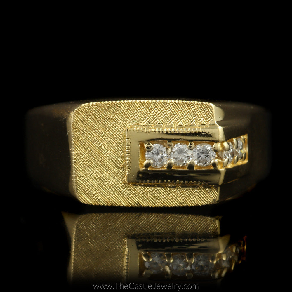 gent's diamond ring with brushed design top & polished sides in