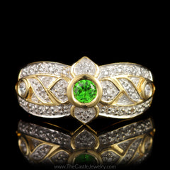 Bezel Set Round Tsavorite Garnet Ring with Fancy Design Diamond Mounting in 18K Yellow Gold - The Castle Jewelry  - 1