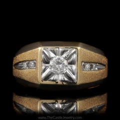 Mens Square Illusion Diamond Ring 1/3 Round Center with Brushed Design Sides in 10K Yellow Gold - The Castle Jewelry  - 1