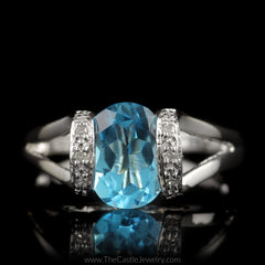 Oval Blue Topaz Ring with Split Shank Curved Cathedral Mounting in 14K White Gold - The Castle Jewelry  - 1
