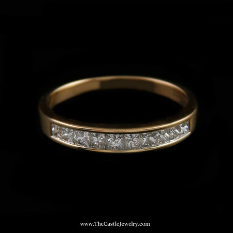 Beautiful Princess Cut Diamond Wedding Band In 14K Yellow Gold