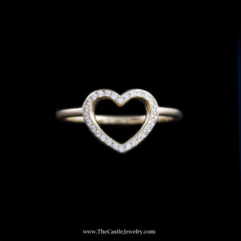 Pandora Captured Heart Ring w/ Cubic Zirconia in 14K Yellow Gold
