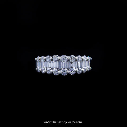 Beautiful Diamond Band w/ Round and Baguette Diamonds in White Gold