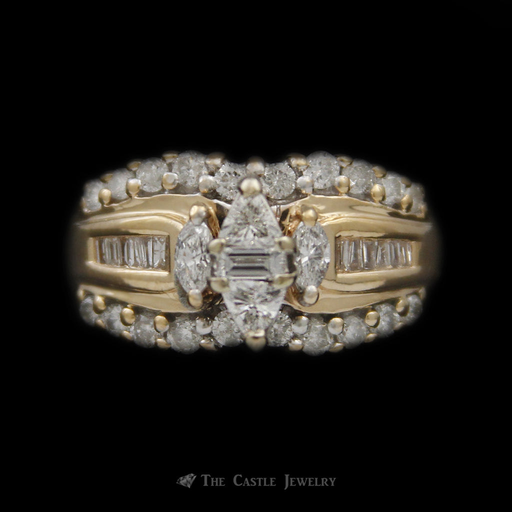 Illusion Marquise Diamond Bridal Ring w/ Marquise & Baguette Sides & Round Diamond Edges in 14k YG