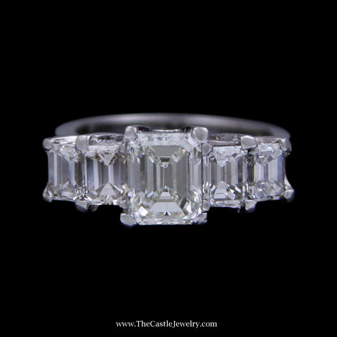 2.50cttw Prong Set Graduating Emerald Cut Diamond Bridal Band Crafted in Platinum