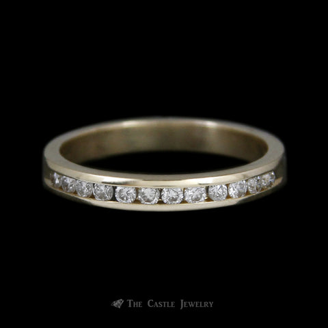 Channel Set Round Brilliant Cut .30cttw Diamond Wedding Band in 14K Yellow Gold