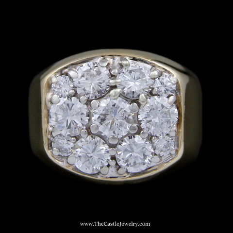 Men's 11 Round Brilliant Cut Diamond Cluster Ring in Rectangular Shaped Mounting in 14k Yellow Gold