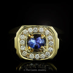 Men's Oval Cut Tanzanite and Diamond Ring .64cttw in 14k Yellow Gold - The Castle Jewelry  - 1