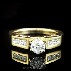 Round Brilliant Cut Diamond Engagement Ring With Princess Cut Diamond Accents 1cttw in 14k Gold - The Castle Jewelry  - 1
