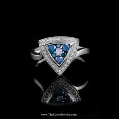 Unique Triangle Shaped Cluster Ring with Blue & White Diamonds in 14K White Gold - The Castle Jewelry  - 1