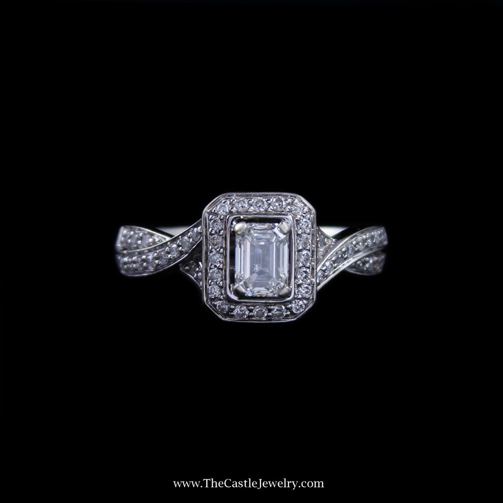 Stunning Bridal Ring w/ Emerald Cut Diamond Center w/ Round Diamond Sides in 14k White Gold - The Castle Jewelry  - 1