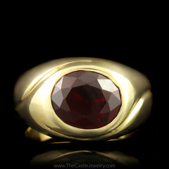 Oval Garnet Ring with Curved Ridged Mounting in 14K Yellow Gold - The Castle Jewelry  - 1