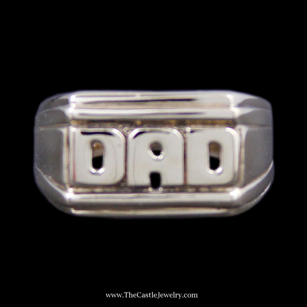 "Perfect ""DAD"" Ring with Grooved Sides and a Tapered band in 10k Yellow Gold - The Castle Jewelry  - 1"