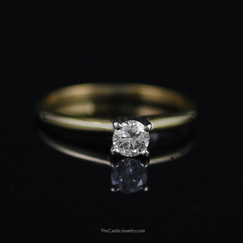 Round Brilliant Cut 1/4ct Diamond Solitaire Engagement Ring in 14K Gold - The Castle Jewelry  - 1