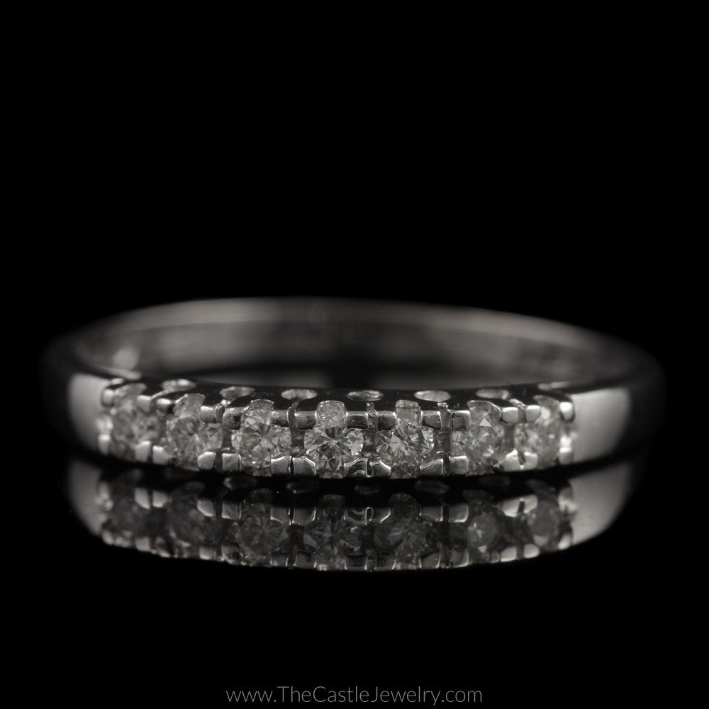 Platinum Wedding Band with Prong Set Round Brilliant Cut Diamonds 1/4cttw - The Castle Jewelry  - 1