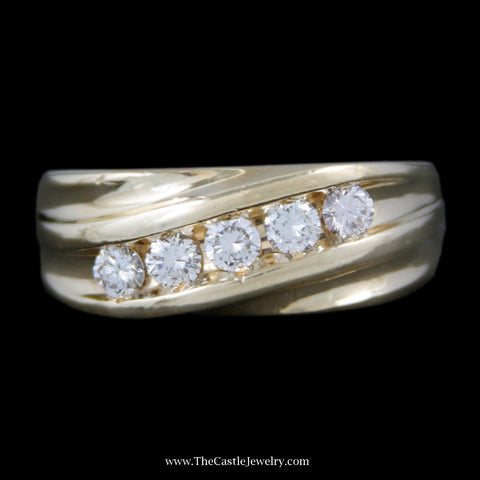 Men's 1cttw 5 Channel Set Round Brilliant Cut Diamond Band w/ Ridged Design Sides in 14k Yellow Gold