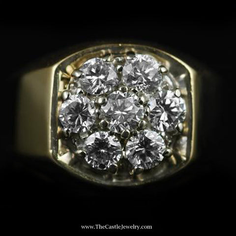 Gent's 7 Diamond 2cttw Cluster Ring with Polished Mount in 14K Yellow Gold