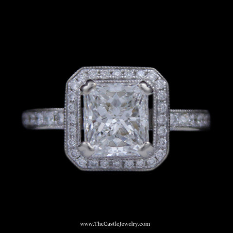 VS2 G 1.75ct Princess Cut Diamond Engagement Ring w/ Diamond Bezel & Sides 14K