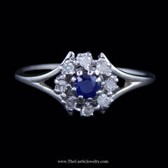 Lovely Round Sapphire Ring w/ Diamond Halo & Split Style Mounting in White Gold - The Castle Jewelry  - 1