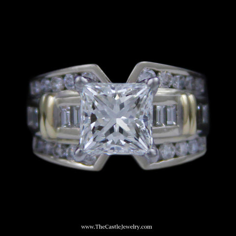 Princess Cut Diamond Engagement Ring w/ Baguette & Round Diamond Accents in 14K