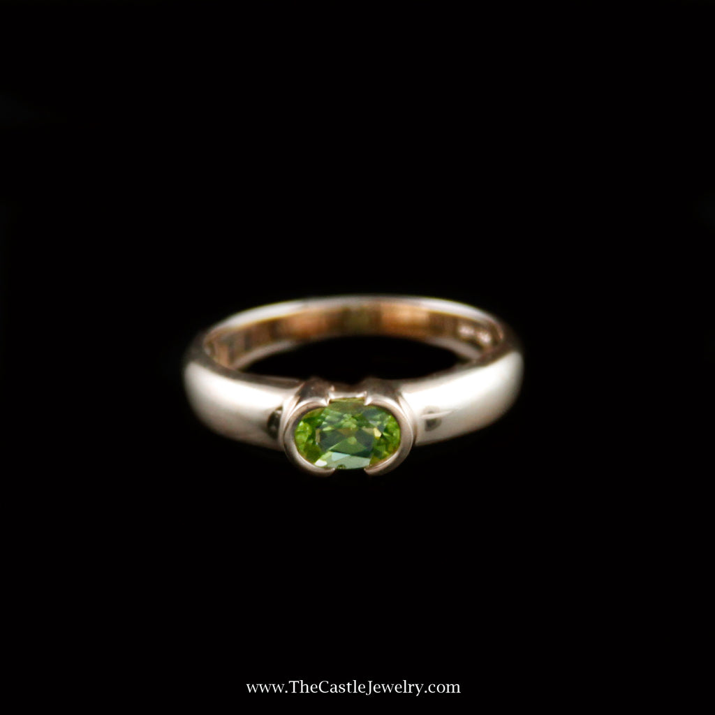 Charming Oval Shaped Peridot Ring in 14K Yellow Gold - The Castle Jewelry  - 1