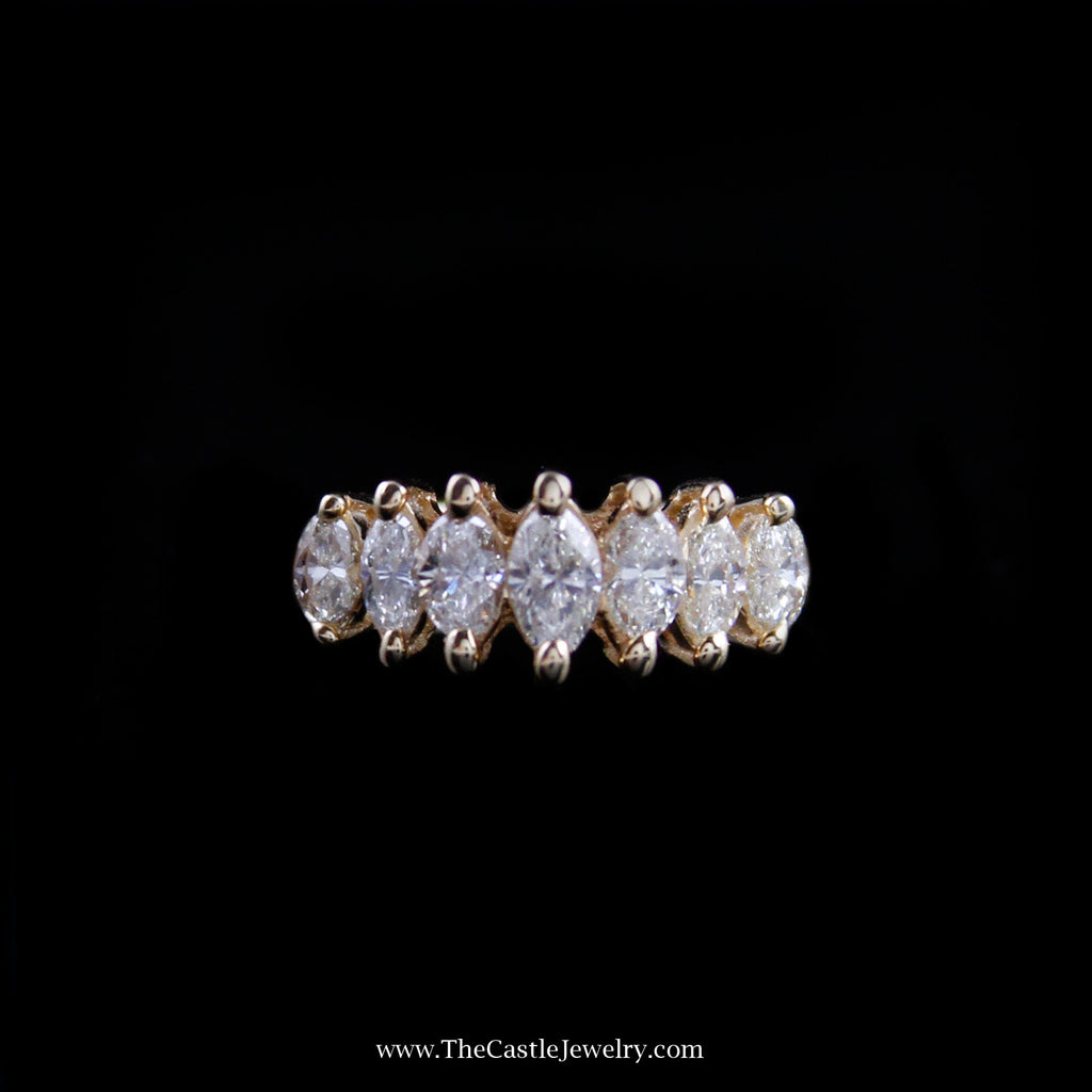 Beautiful 1cttw Marquise Diamond Ring in Yellow Gold - The Castle Jewelry  - 1
