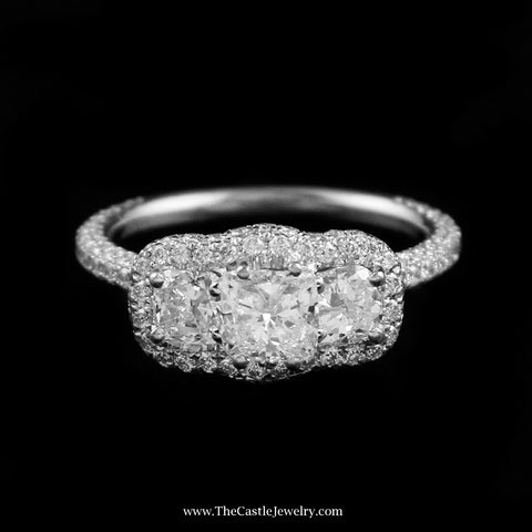 Designer Neil Lane Engagement Ring w/ Cushion Cuts & Pave Mount in 14K Gold